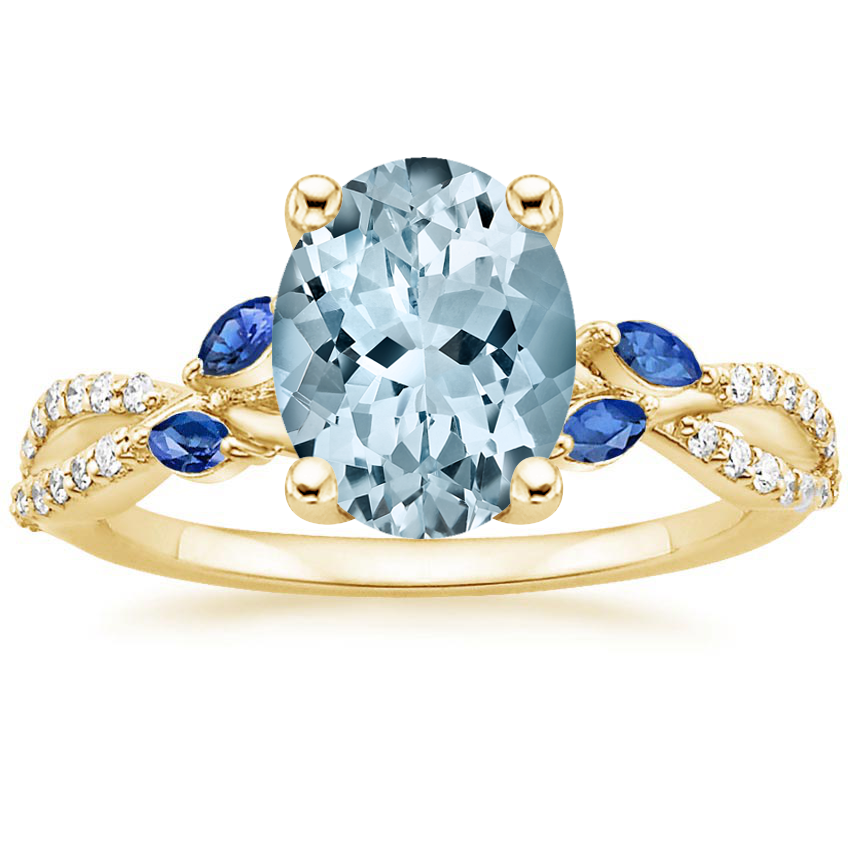 Yellow Gold Aquamarine Luxe Willow Sapphire and Diamond Ring (1/8 ct. tw.)