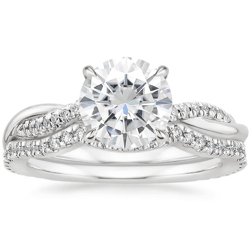 18KW Moissanite Petite Twisted Vine Contoured Diamond Bridal Set (1/3 ct. tw.), top view