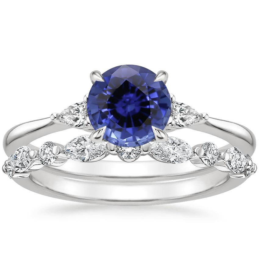 18KW Sapphire Aria Diamond Ring (1/10 ct. tw.) with Versailles Diamond Ring (3/8 ct. tw.), top view