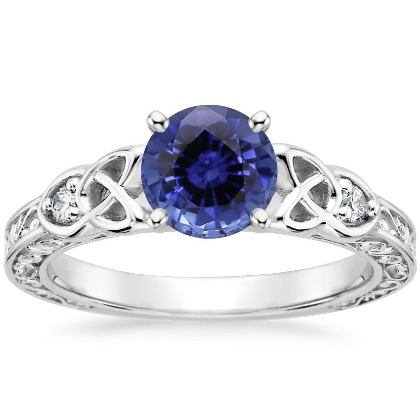 Sapphire Aberdeen Diamond Ring in 18K White Gold