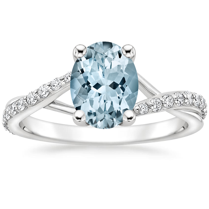Aquamarine Luxe Chamise Diamond Ring (1/5 ct. tw.) in Platinum
