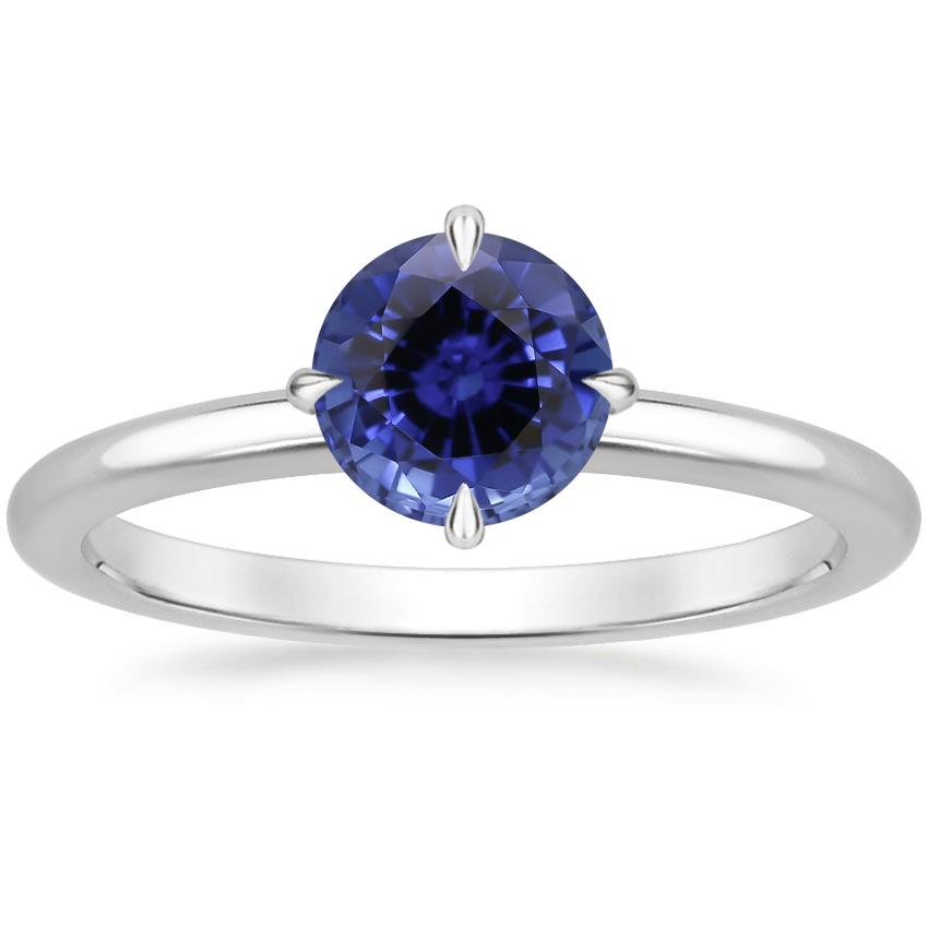 Sapphire North Star Ring in 18K White Gold