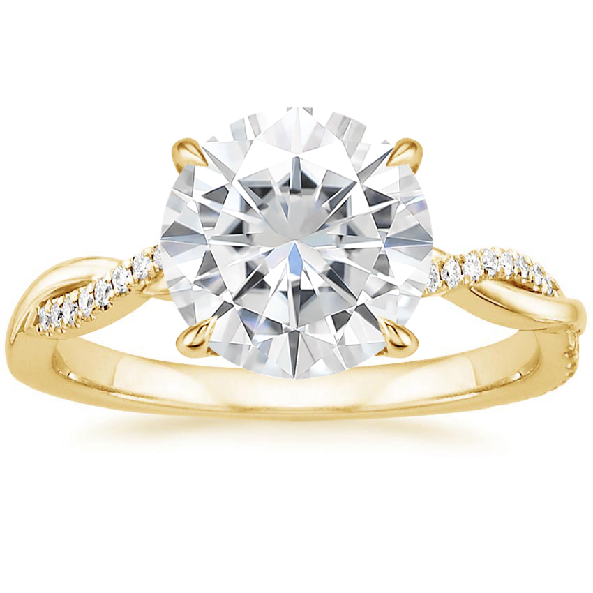 Yellow Gold Moissanite Petite Twisted Vine Diamond Ring (1/8 ct. tw.)