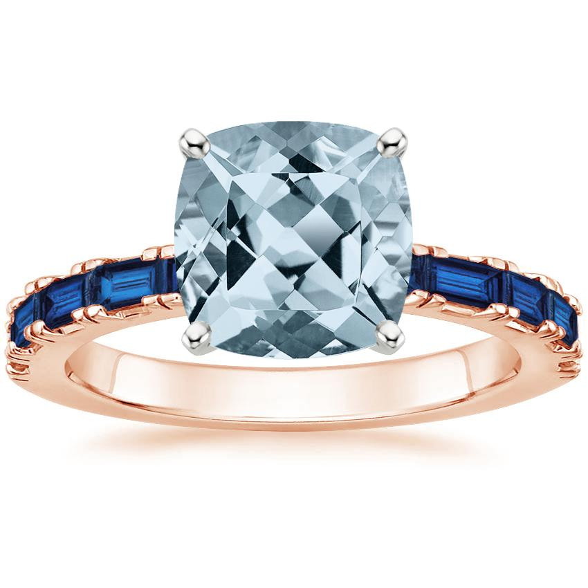 Rose Gold Aquamarine Gemma Ring with Sapphire Accents