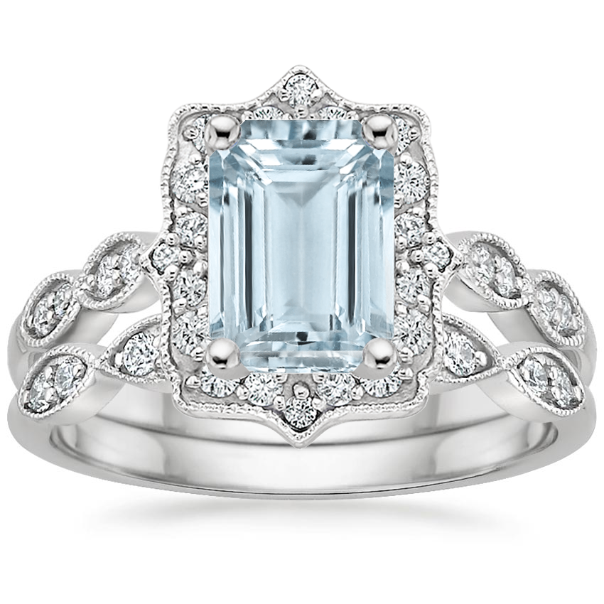 18KW Aquamarine Cadenza Halo Diamond Bridal Set (1/4 ct. tw.), top view