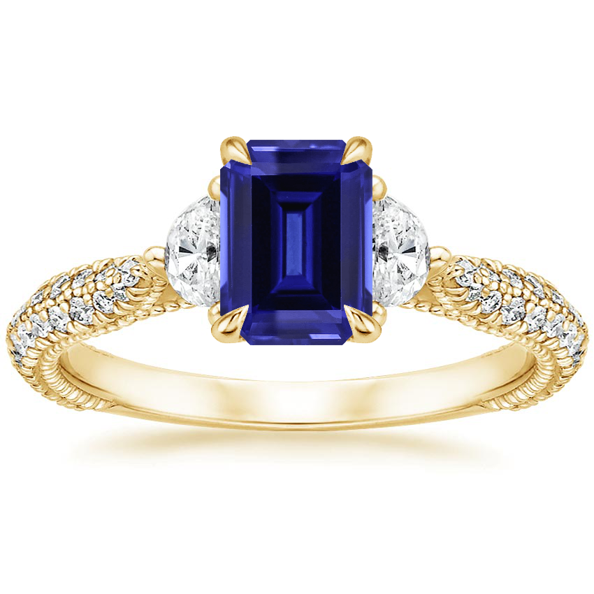 Yellow Gold Sapphire Rosemont Diamond Ring