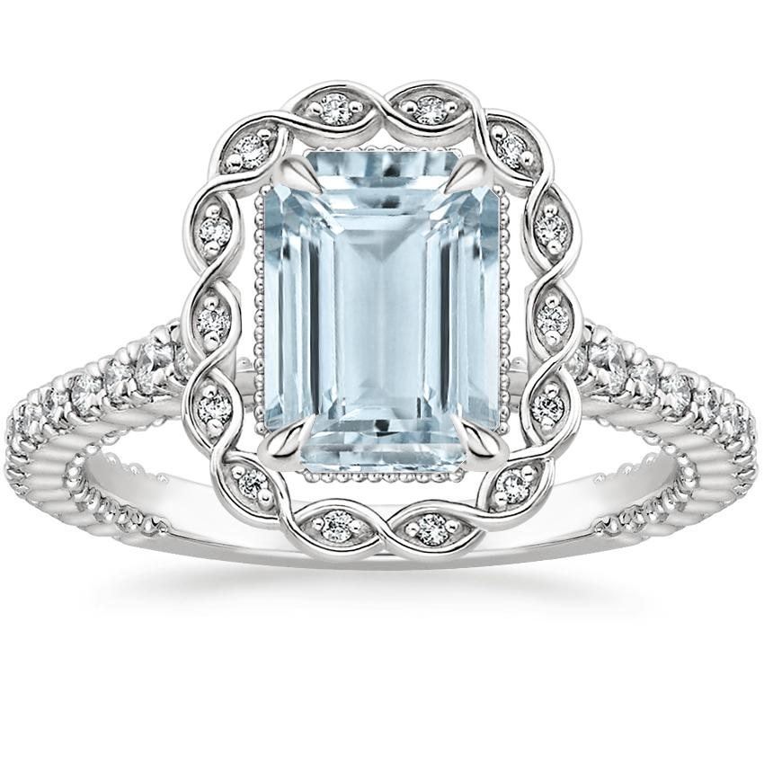 Aquamarine Magnolia Diamond Ring (1/3 ct. tw.) in 18K White Gold