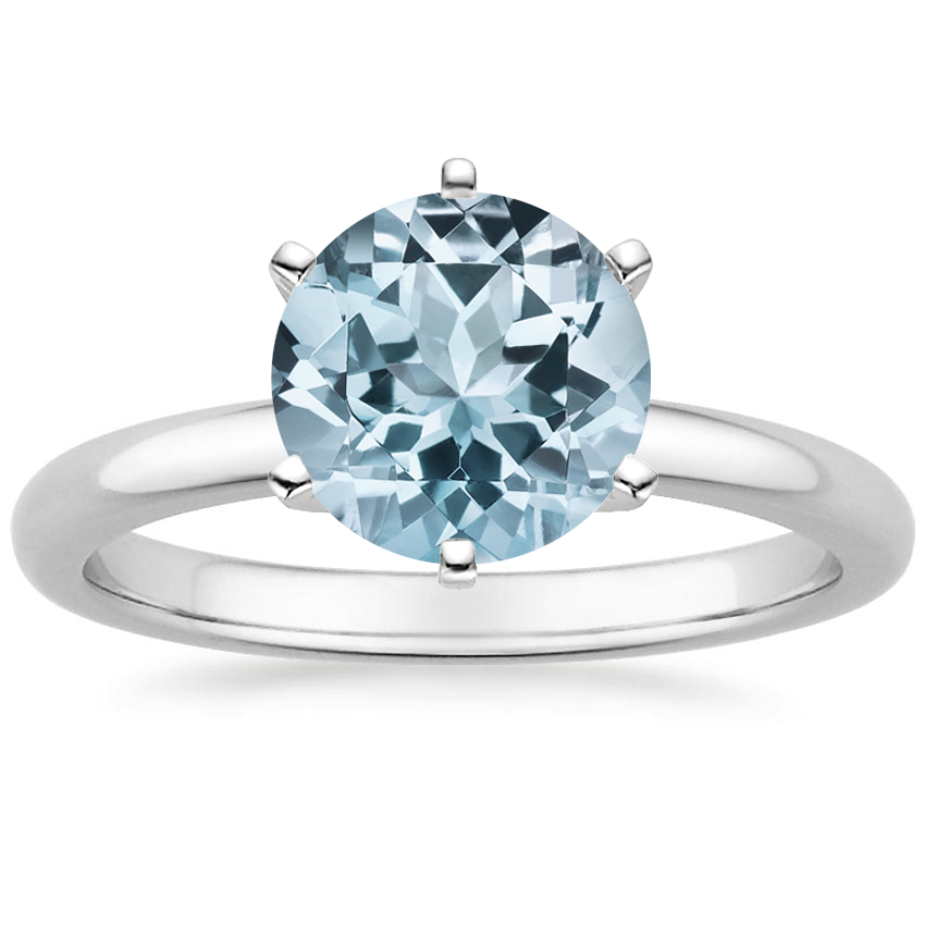 Aquamarine Six-Prong 2mm Comfort Fit Ring in 18K White Gold