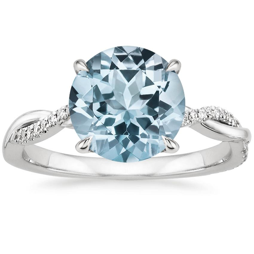 Aquamarine Petite Twisted Vine Diamond Ring (1/8 ct. tw.) in 18K White Gold