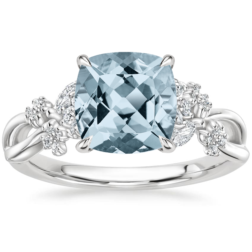 Aquamarine Summer Blossom Diamond Ring (1/4 ct. tw.) in Platinum