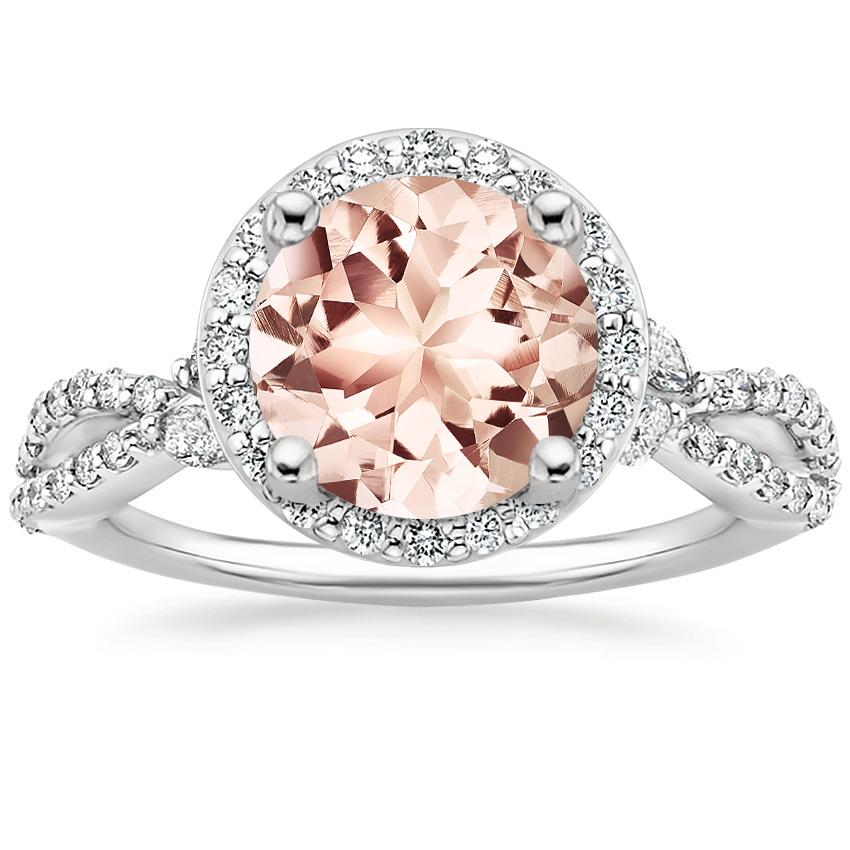 Morganite Luxe Willow Halo Diamond Ring (2/5 ct. tw.) in 18K White Gold