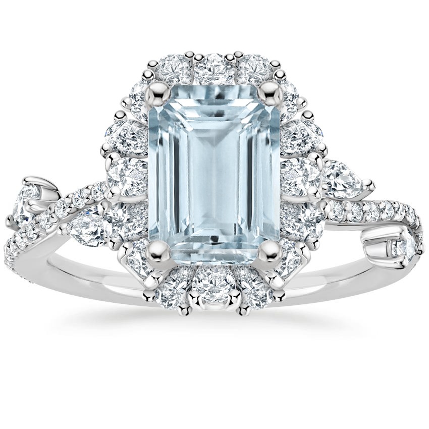 Aquamarine Blooming Rose Diamond Ring (1 ct. tw.) in Platinum