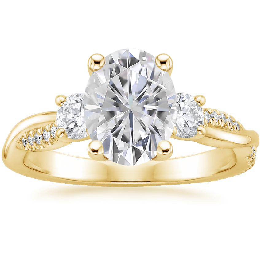 Yellow Gold Moissanite Three Stone Petite Twisted Vine Diamond Ring (2/5 ct. tw.)
