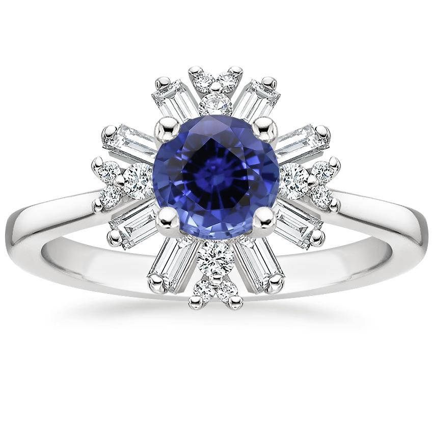 Sapphire Ballerina Diamond Ring in 18K White Gold