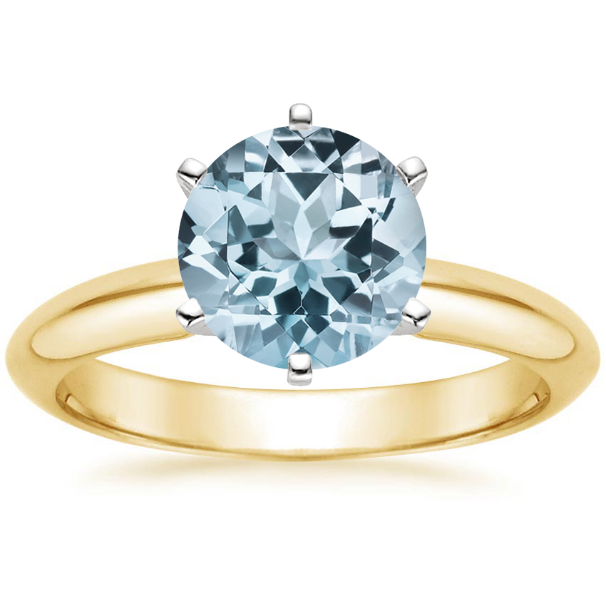 Yellow Gold Aquamarine Six-Prong Classic Ring