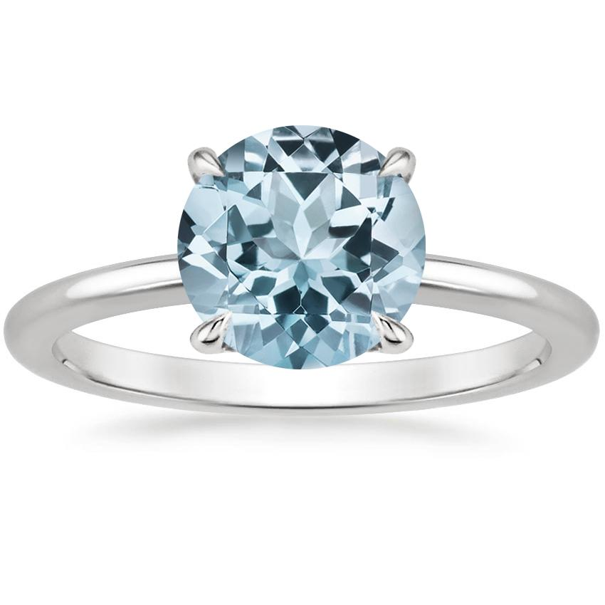 Aquamarine Secret Halo Diamond Ring in 18K White Gold