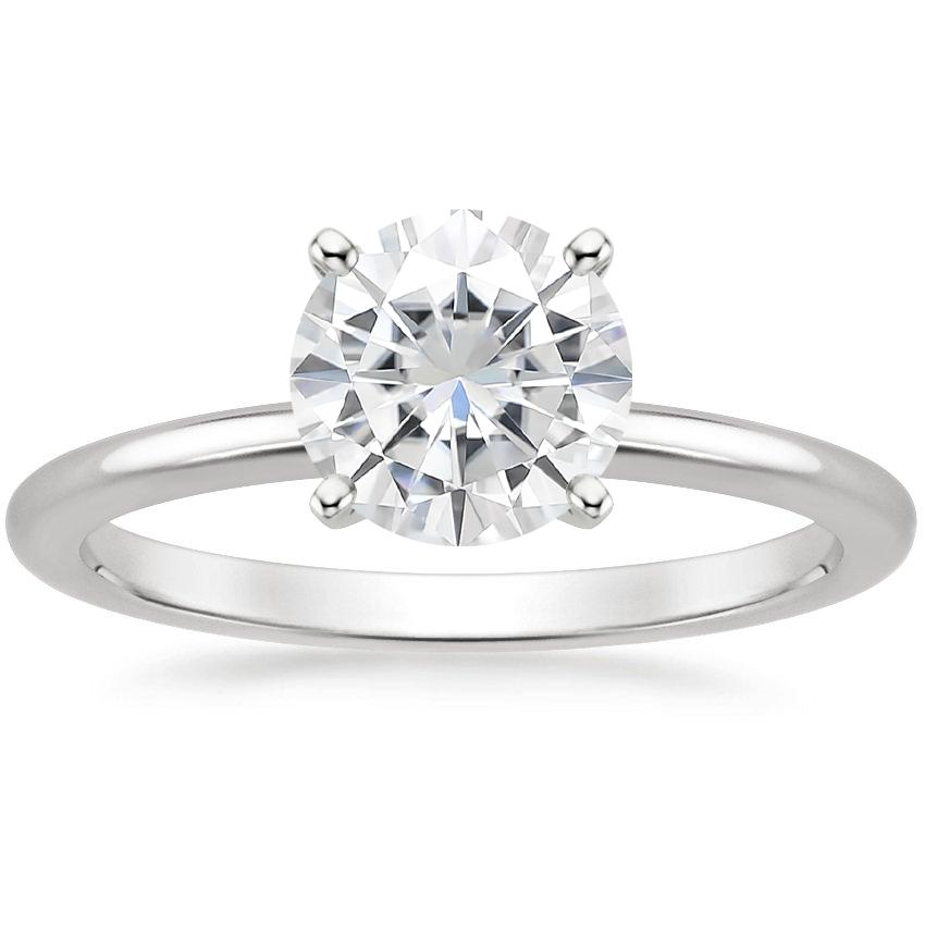Moissanite Four-Prong Petite Comfort Fit Ring in 18K White Gold