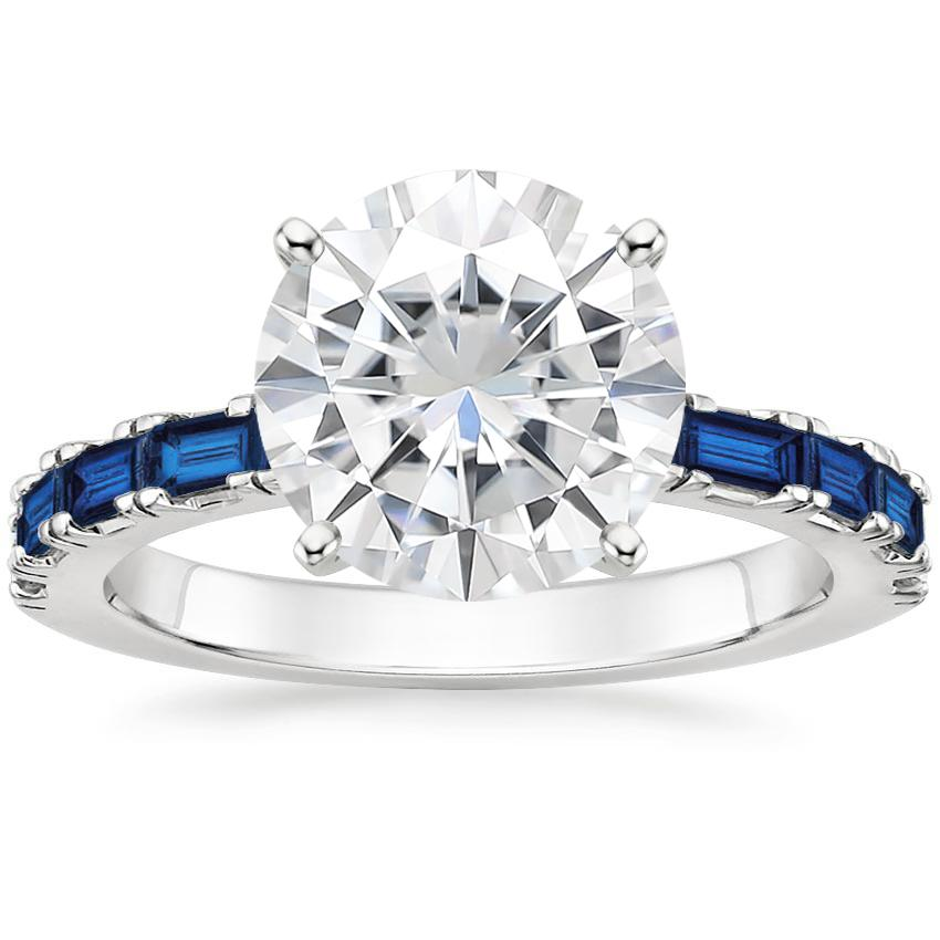 Moissanite Gemma Ring with Sapphire Accents in Platinum