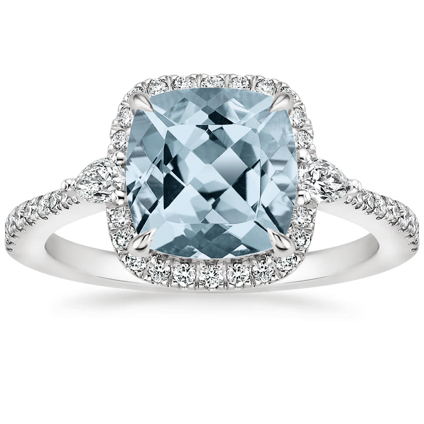 Aquamarine Luxe Aria Halo Diamond Ring (1/4 ct. tw.) in Platinum
