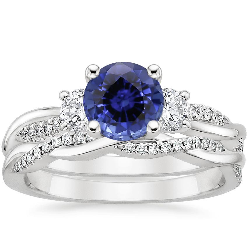 18KW Sapphire Three Stone Petite Twisted Vine Diamond Bridal Set (1/2 ct. tw.), top view