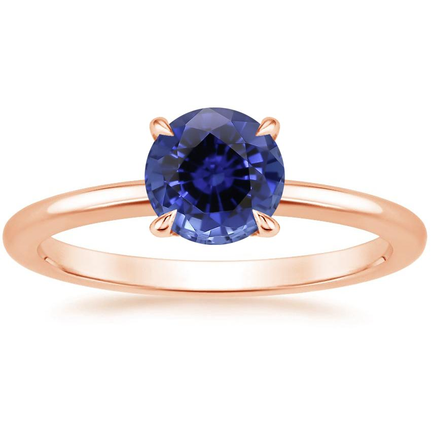 Rose Gold Sapphire Secret Halo Diamond Ring