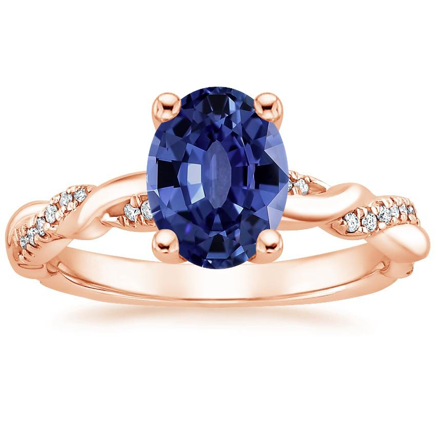 Rose Gold Sapphire Tressa Diamond Ring