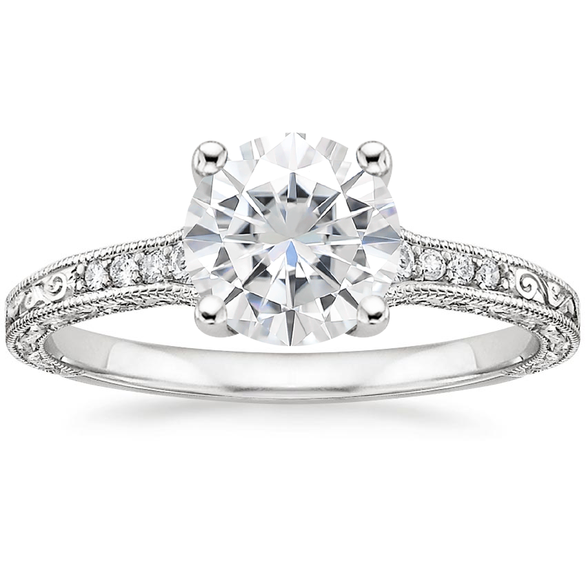 Moissanite Luxe Hudson Diamond Ring (1/10 ct. tw.) in 18K White Gold
