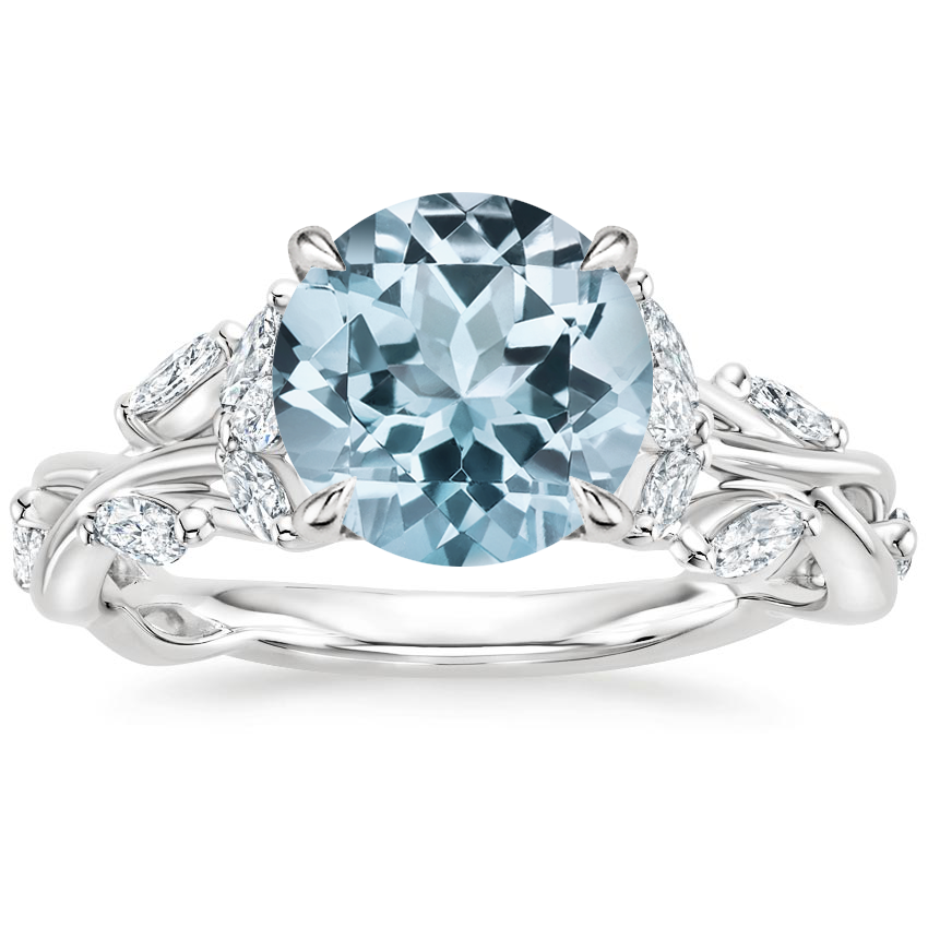 Aquamarine Secret Garden Diamond Ring (1/2 ct. tw.) in 18K White Gold