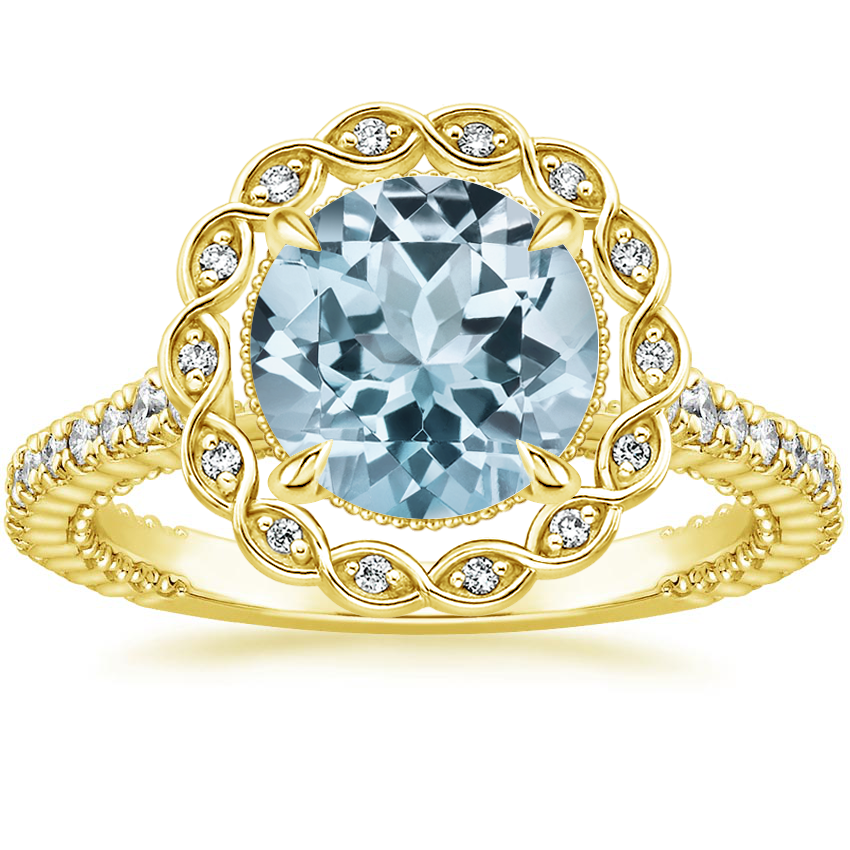 Yellow Gold Aquamarine Magnolia Diamond Ring (1/3 ct. tw.)