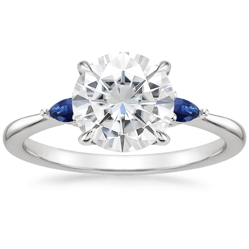 Moissanite Aria Ring with Sapphire Accents in 18K White Gold