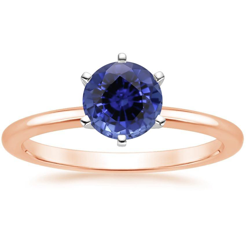 Rose Gold Sapphire Six-Prong Petite Comfort Fit Ring