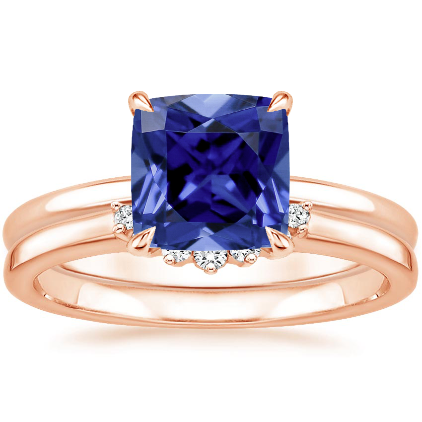14KR Sapphire Elodie Ring with Crescent Diamond Ring, top view