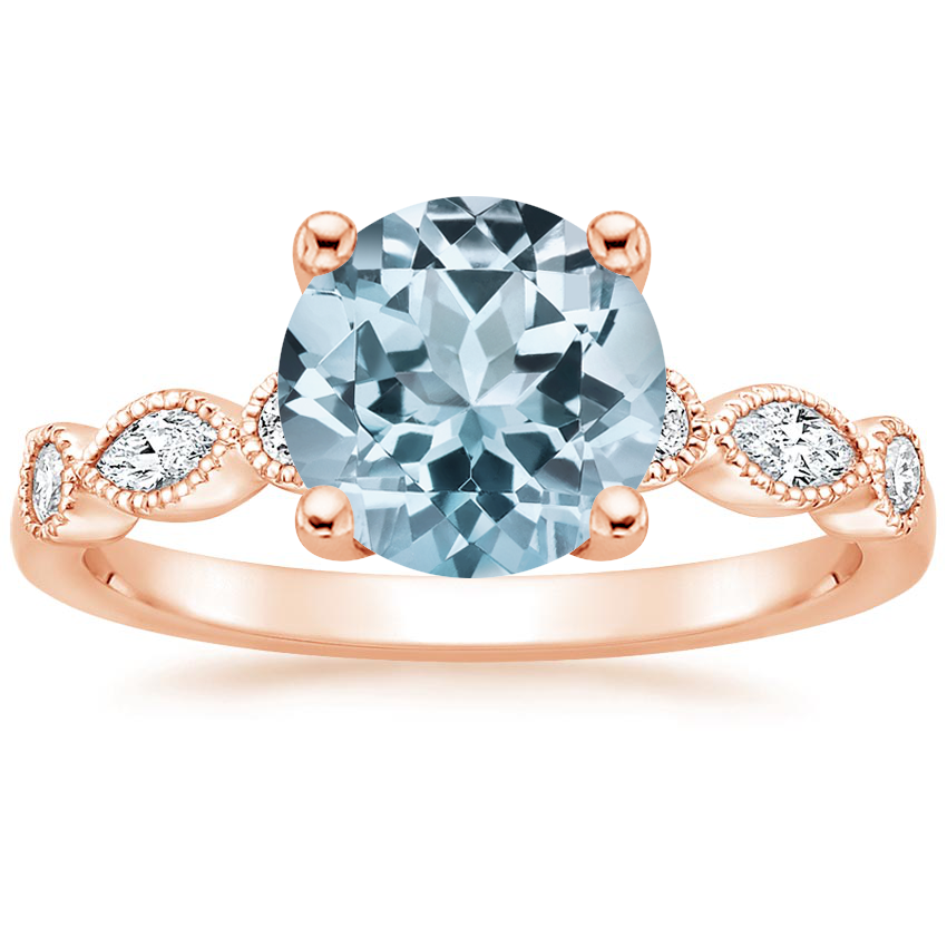 Rose Gold Aquamarine Rosalie Diamond Ring (1/4 ct. tw.)