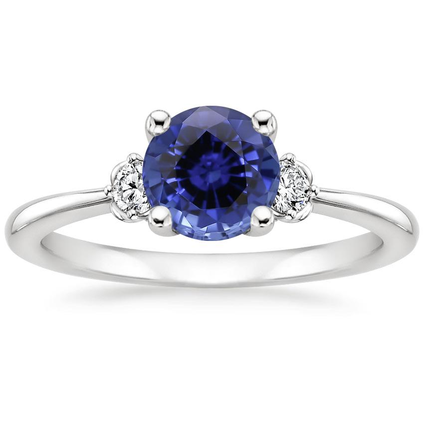 Sapphire Blossom Diamond Ring (1/10 ct. tw.) in 18K White Gold