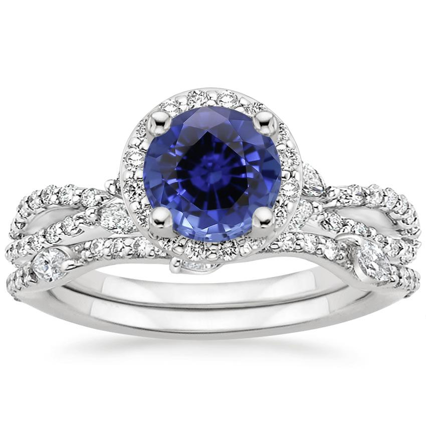 18KW Sapphire Luxe Willow Halo Diamond Bridal Set (5/8 ct. tw.), top view