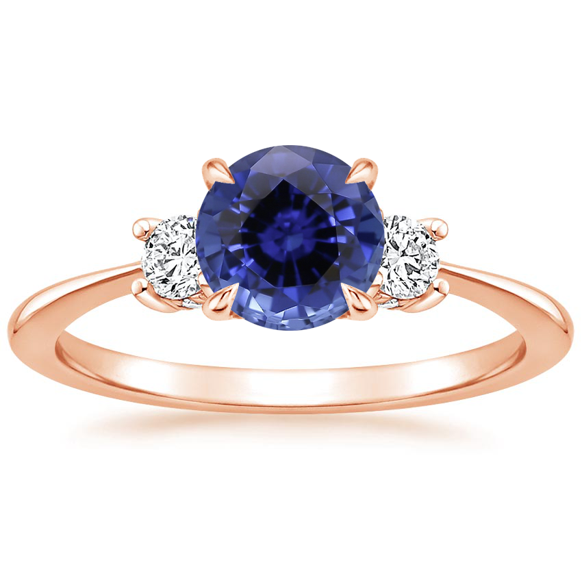 Rose Gold Sapphire Adorned Selene Diamond Ring (1/4 ct. tw.)