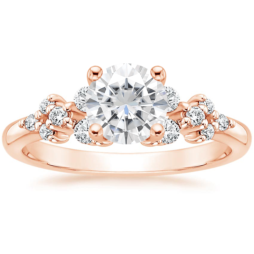 Rose Gold Moissanite Effervescence Diamond Ring
