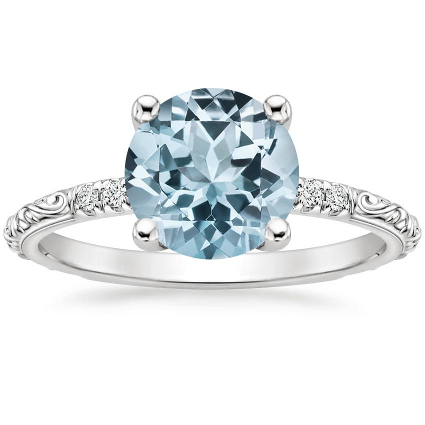 Aquamarine Adeline Diamond Ring in 18K White Gold