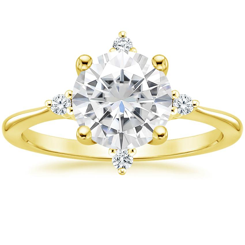 Yellow Gold Moissanite Luminesce Diamond Ring