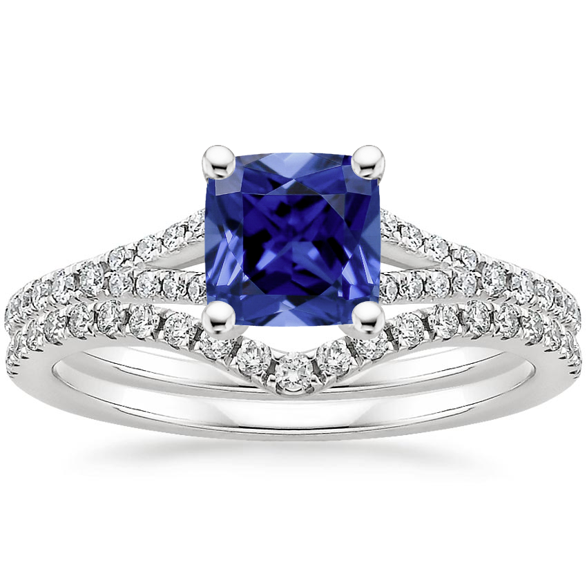 18KW Sapphire Flair Diamond Bridal Set (1/3 ct. tw.), top view