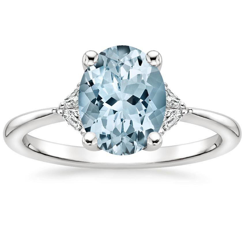 Aquamarine Faye Diamond Ring in 18K White Gold