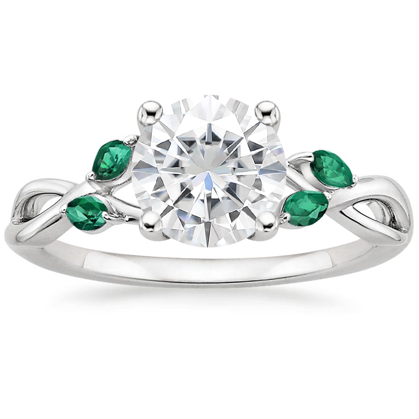 Moissanite Willow Ring With Lab Emerald Accents in 18K White Gold