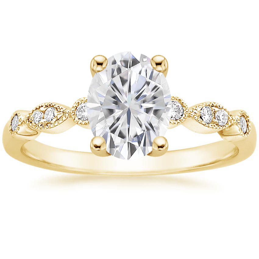 Yellow Gold Moissanite Tiara Diamond Ring