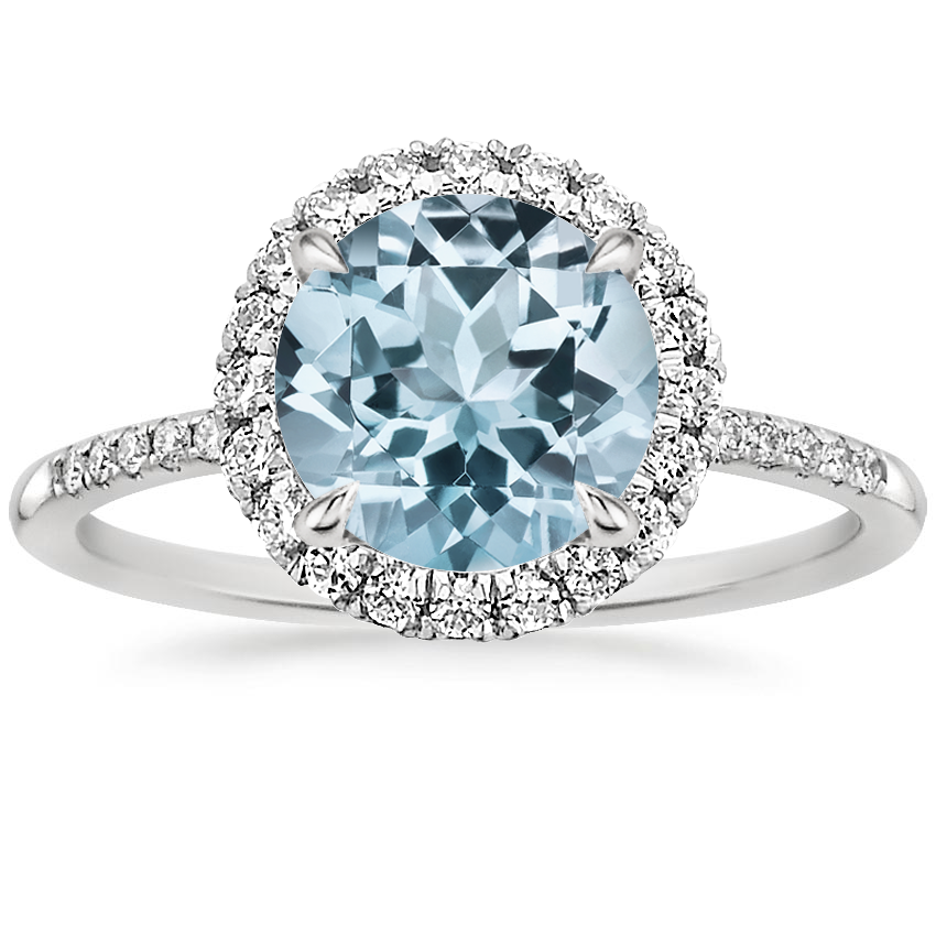 Aquamarine Cambria Diamond Ring in 18K White Gold