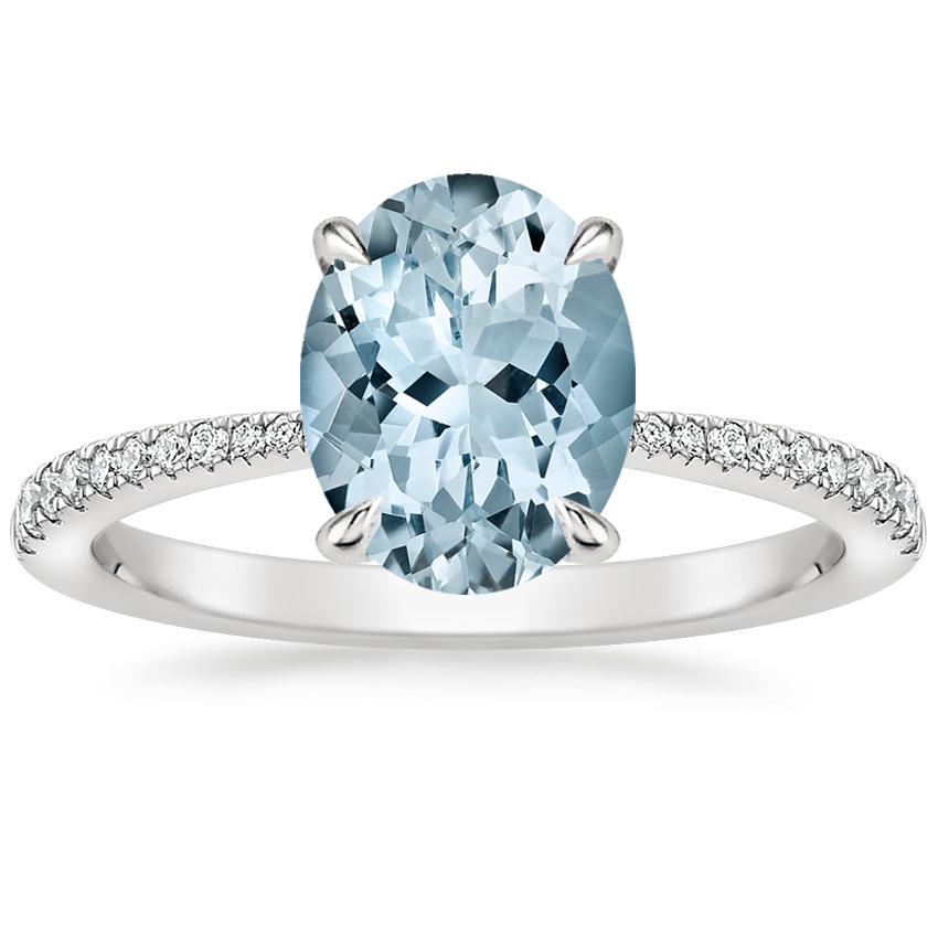 Aquamarine Elena Diamond Ring in 18K White Gold