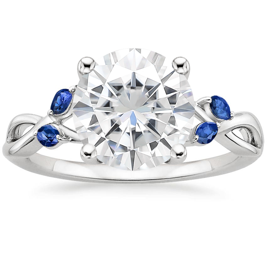 Moissanite Willow Ring With Sapphire Accents in 18K White Gold