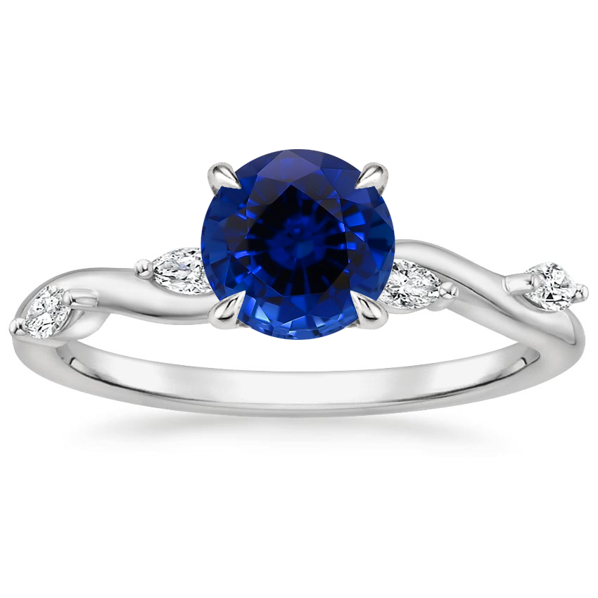 Sapphire Winding Willow Diamond Ring in Platinum