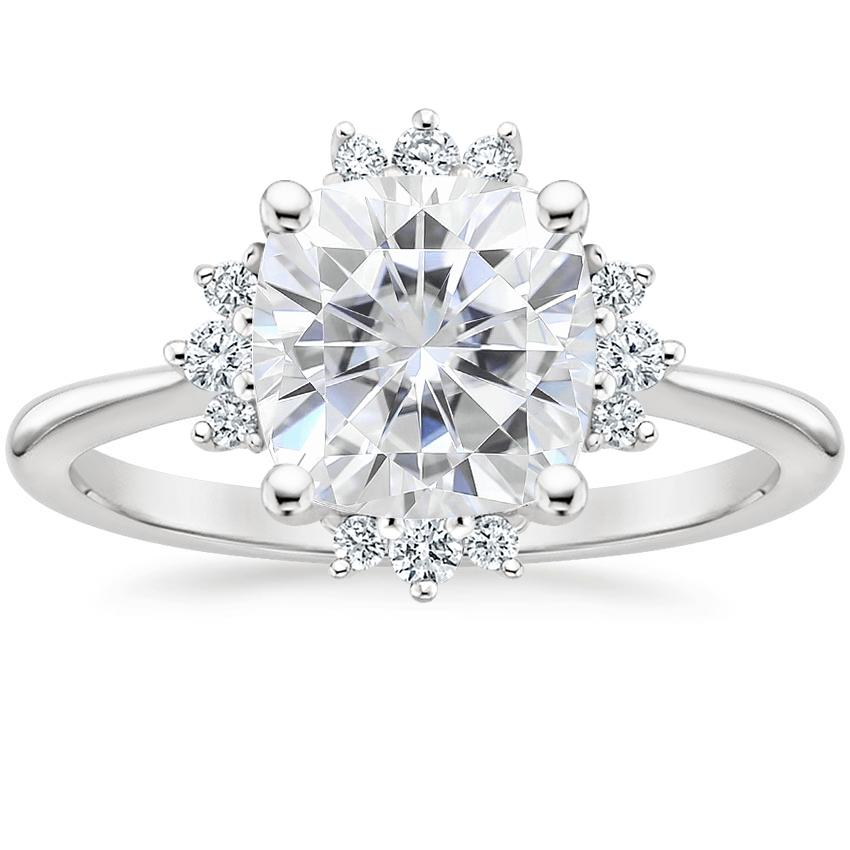 Moissanite Sol Diamond Ring in Platinum