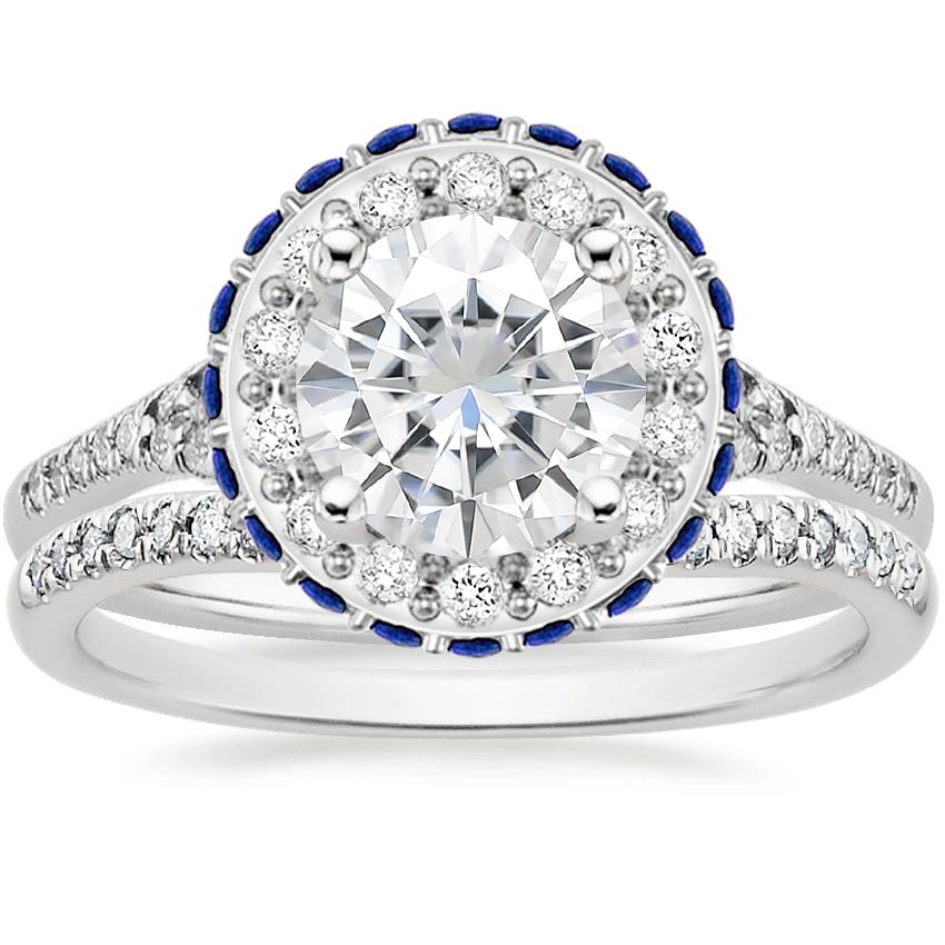 18KW Moissanite Circa Diamond Bridal Set with Sapphire Accents (1/3 ct. tw.), top view