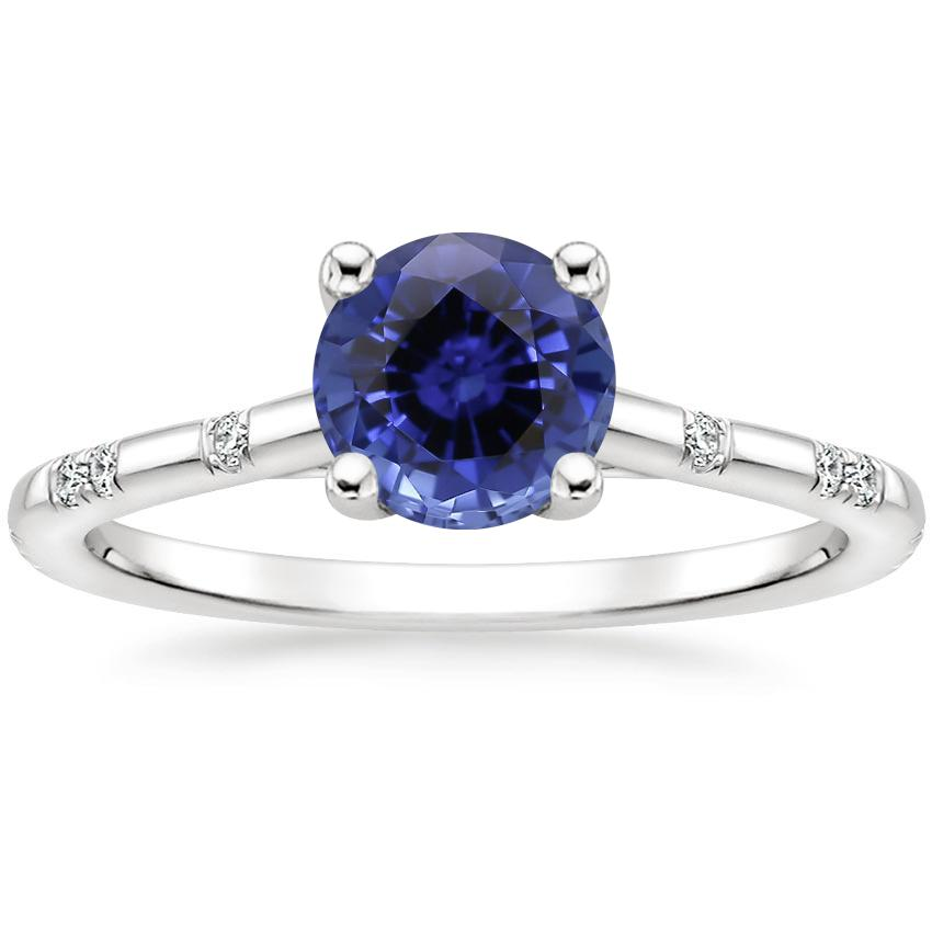 Sapphire Astra Diamond Ring in 18K White Gold